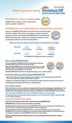 Patient's guide for switching to ENVARSUS XR dosing information sheet